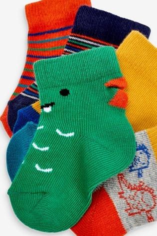 Bright 5 Pack Dinosaur Socks (Younger)
