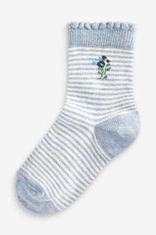 Blue 7 Pack Pretty Socks