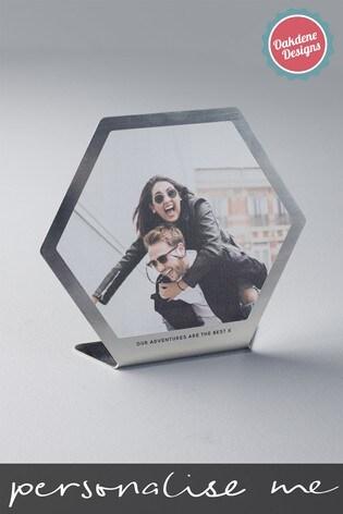 Personalised Photo Upload Brushed Metal Hexagon Frame by Oakdene Designs