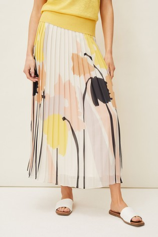 Phase Eight White Saskie Floral Pleated Skirt