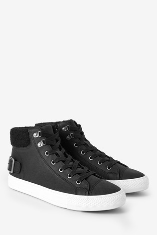 Black Borg Collar High Top Trainers