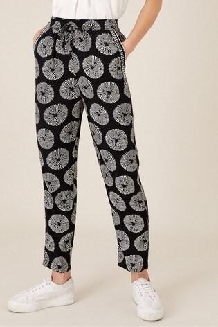 Monsoon Black Artisan Studio Circle Print Trousers
