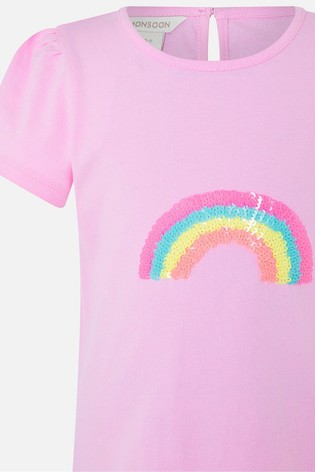 Angels By Accessorize Pink Sequin Rainbow T-Shirt