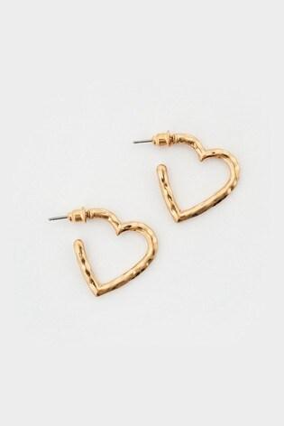White Stuff Metal Heart Hoop Earrings