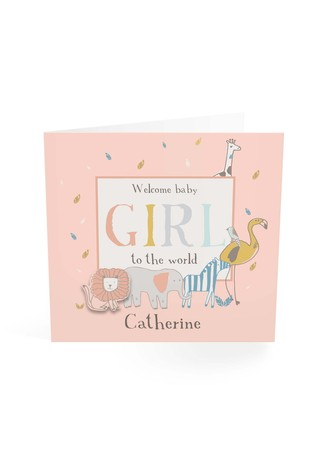 Personalised Welcome To The World Baby Girl Card by Croft Designs