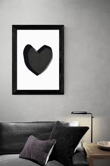 Black Heart Framed Print by East End Prints