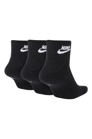 Nike Adult Black Heritage Cushioned Mid Cut Crew Socks Three Pack