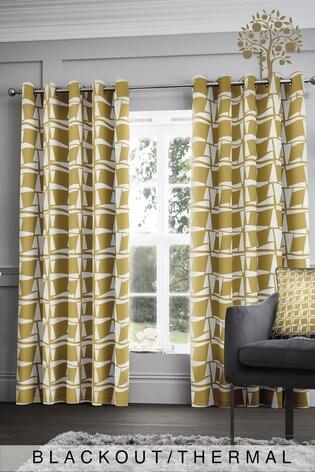 Appletree Leyton Geo Blackout/Thermal Eyelet Curtains