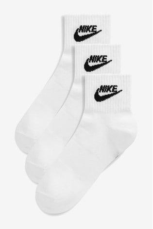 Nike Adult White Heritage Cushioned Mid Cut Crew Socks Three Pack