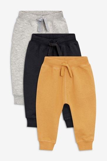 Ochre/Grey/Black Regular Fit Joggers Three Pack (3mths-7yrs)