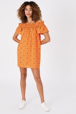 Accessorize Orange Schiffly Bardot Dress