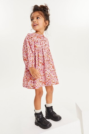 Pink Floral Volume Sleeve Dress (3mths-7yrs)
