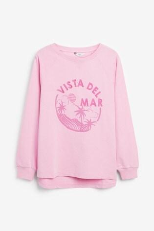 Pink Vista Del Mar Graphic Sweatshirt