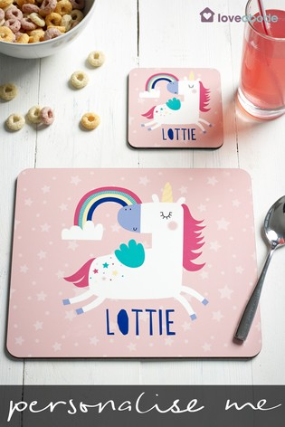 Personalised Unicorn Table Mat And Coaster Set by Loveabode
