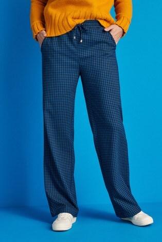 Blue Check Wide Leg Tie Waist Trousers