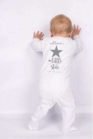 Personalised Grey Star Sleepsuit by Loveabode
