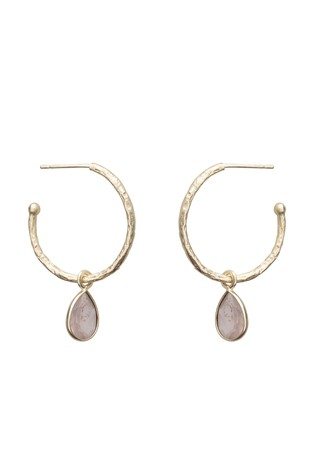 Oliver Bonas Maya Rose Quartz Gold Plated Brass Hoop Earrings