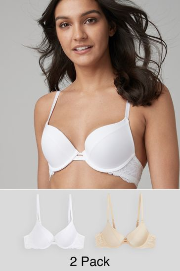 Nude/White Push-Up Plunge Bras 2 Pack