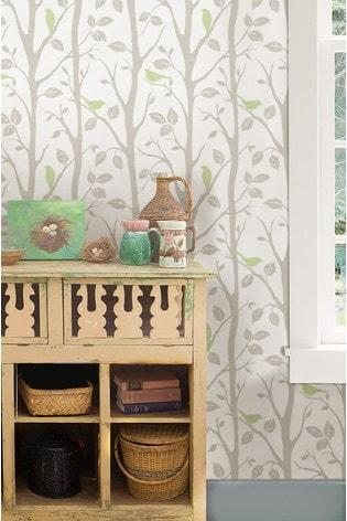 NuWalls Green Sitting Tree Self Adhesive Wallpaper
