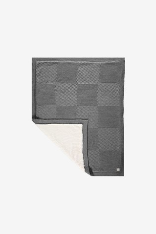 The Little Tailor Grey Baby Knitted Lined Shawl Blanket