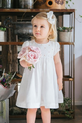 Trotters London White Rose Hand Smocked Dress