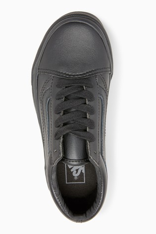 Buy Vans Youth Black Leather Old Skool Trainers from Next