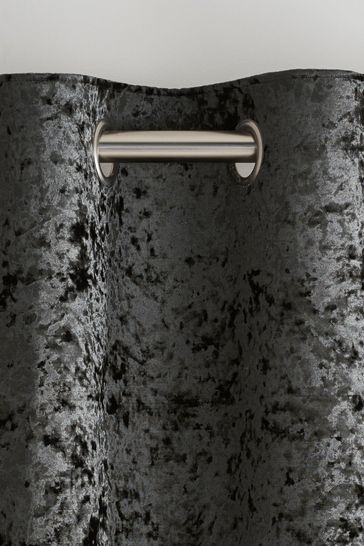 Crushed Velvet Eyelet Lined Curtains