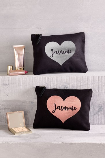 Personalised Small Heart Make-Up Bag