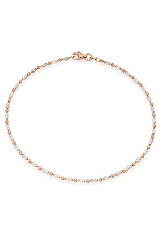 Beaverbrooks Silver Rose Gold Plated Sparkle Anklet