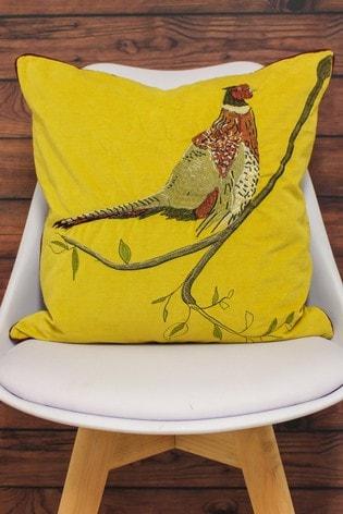 Riva Home Ochre Embroidered Pheasant Cushion
