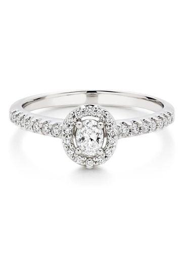 Beaverbrooks 18ct Diamond Pear Oval Shaped Halo Ring