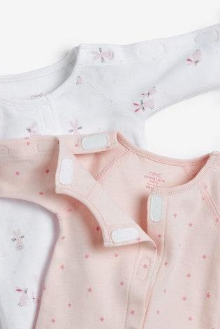 Pink 3 Pack Organic Cotton Premature Sleepsuits (0-0mths)