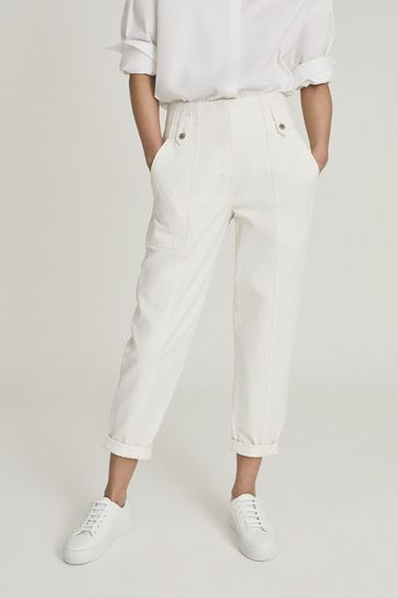 Reiss Alana Cotton Tapered Cargo Trousers