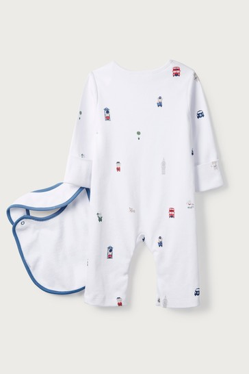 The White Company White London Bear Sleepsuit & Bib Set