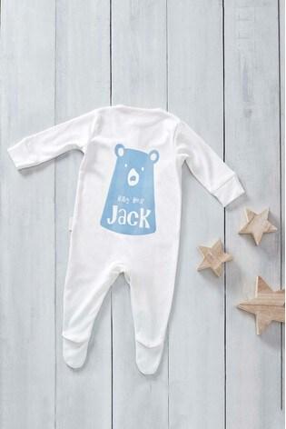 Personalised Flock Printed Named Baby Bear Design Sleepsuit by Loveabode
