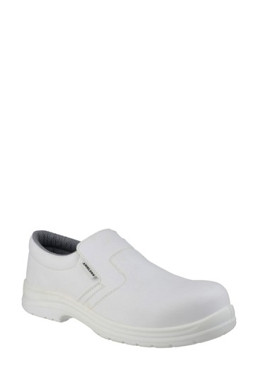 Amblers Safety White FS510 Metal-Free Water-Resistant Slip-On Safety Shoes