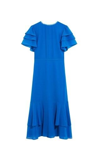 Oasis Blue Tiered Sleeve Midi Dress