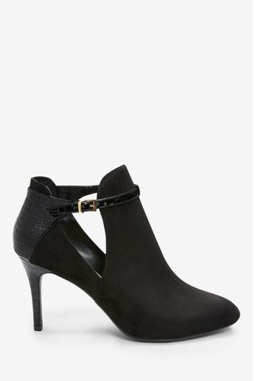 Black Forever Comfort® Open Side High Heeled Shoe Boots