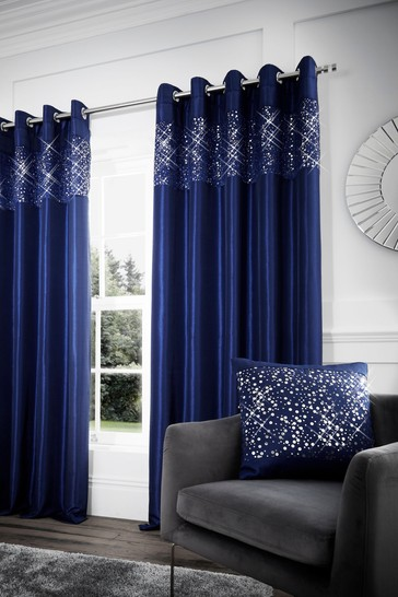 Catherine Lansfield Glitzy Sequin Detail Lined Eyelet Curtains