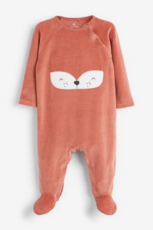 Rust Fox Velour Sleepsuit (0mths-2yrs)