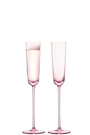 Set of 2 LSA International Champagne Theatre Blush Champagne Flutes