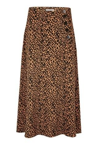 Oliver Bonas Animal Print Brown Button Detail Midi Skirt