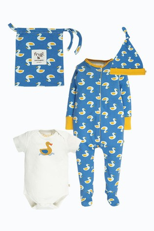 Frugi Organic Cotton 4 Piece Newborn Gift Set - Blue Duck Print
