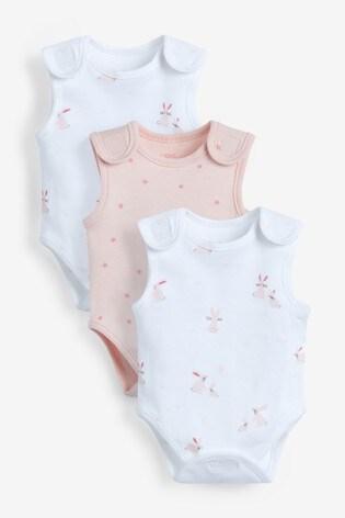 Pink/White 3 Pack GOTS Organic Premature Vest Bodysuits (0-0mths)