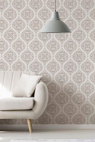 A Street Grey Damask Wallpaper