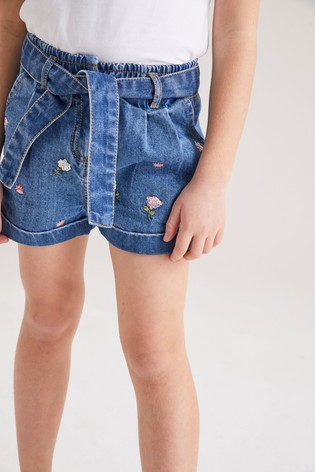 Mid Blue Sequin Embellished Shorts With Headband (3-16yrs)