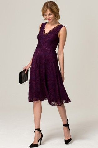 HotSquash Purple V-Neck Floral Lace Dress