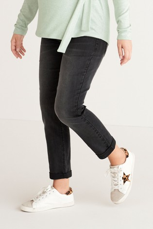 Washed Black Maternity Relaxed Skinny Jeans
