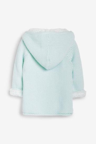The Little Tailor Blue Baby Plush Lined Pram Coat