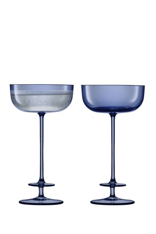 Set of 2 LSA International Champagne Theatre Navy Champagne Saucers